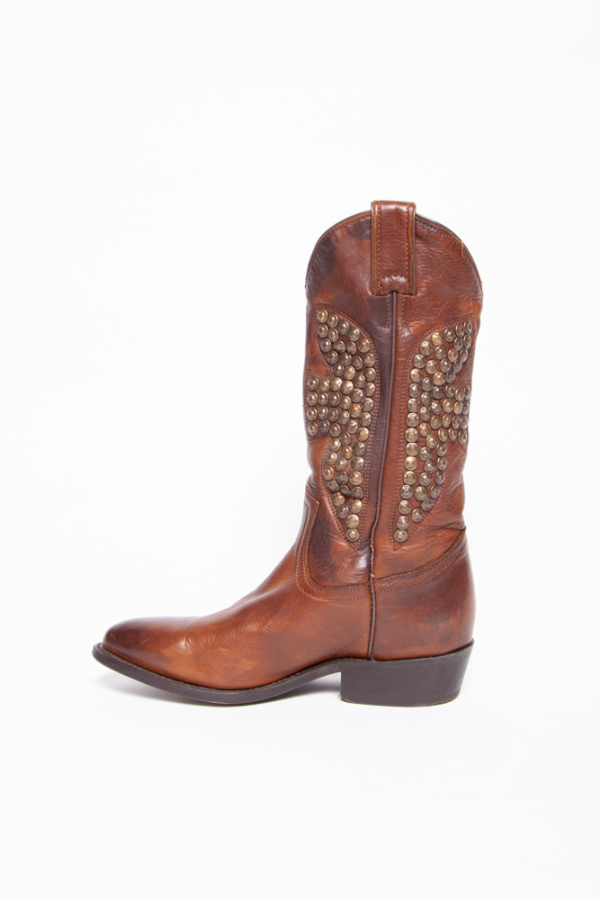 Frye BROWN LEATHER COWBOY BOOTS