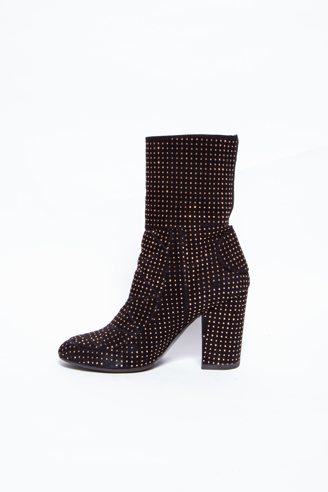 Laurence Dacade BLACK SUEDE BOOTIES WITH GOLD STUDS