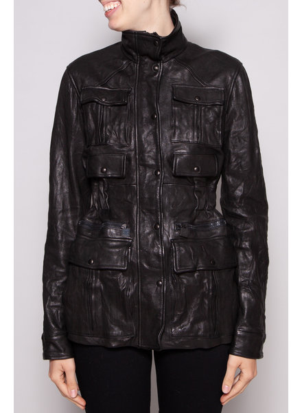 Chanel BLACK LEATHER UTILITY JACKET