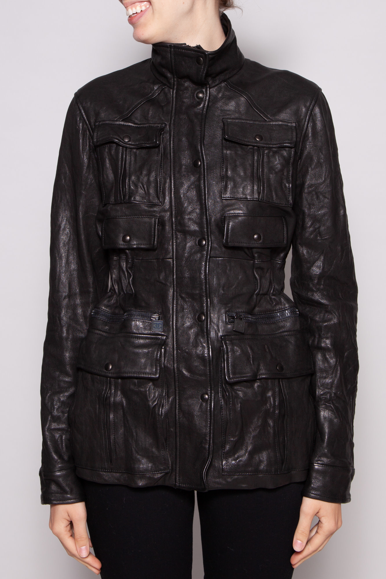 Chanel NEW PRICE (WAS $1300) - BLACK LEATHER UTILITY JACKET