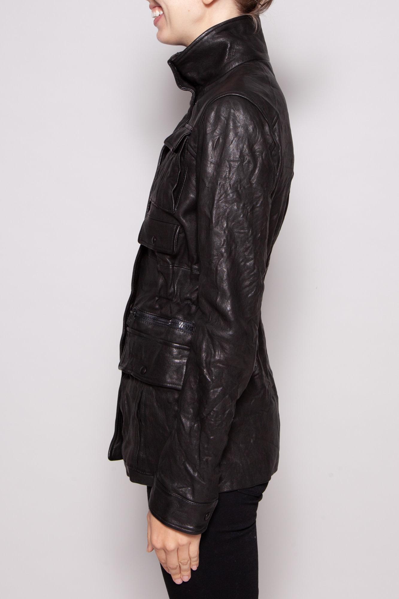 Chanel BLACK LEATHER UTILITY JACKET