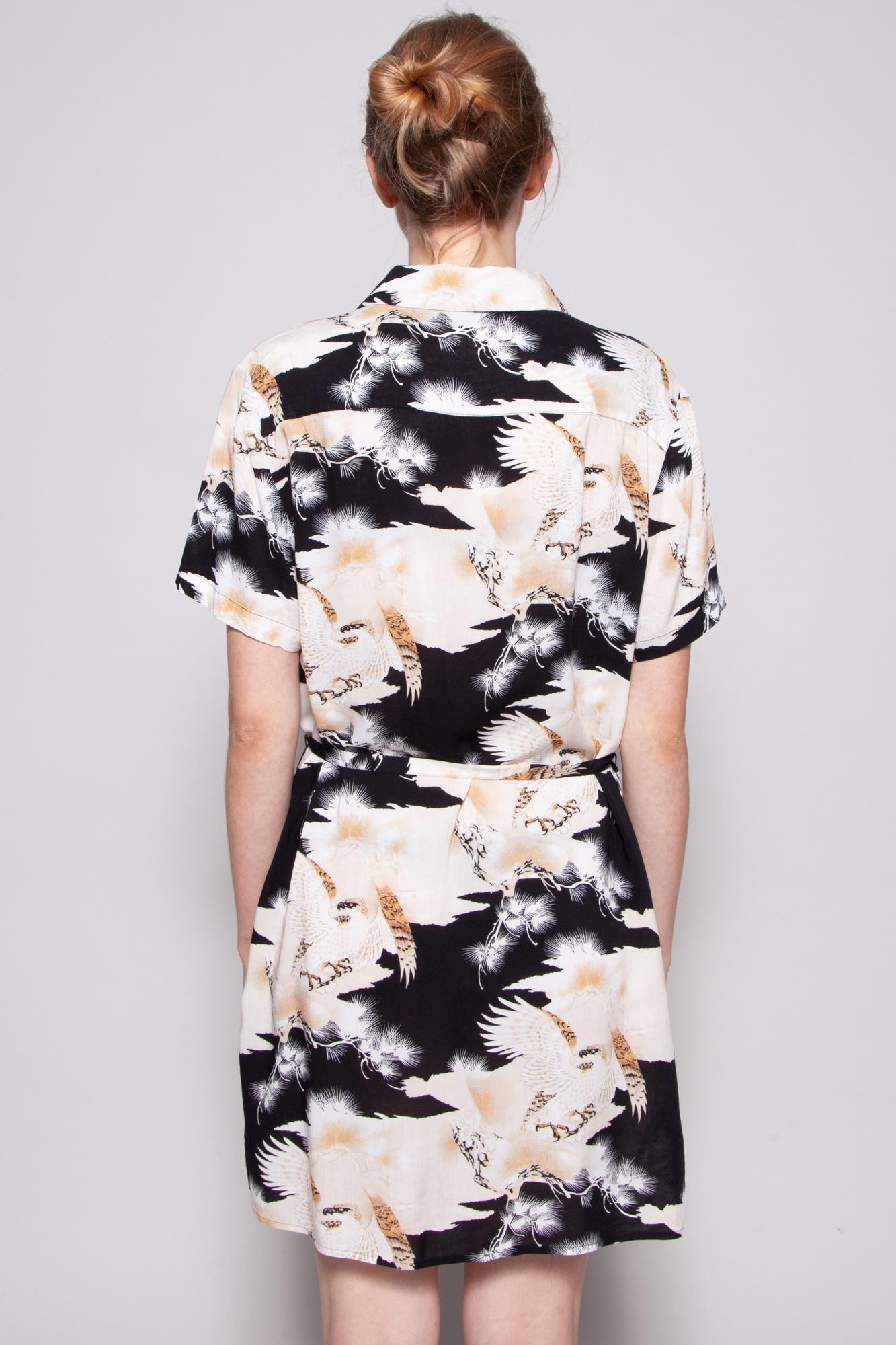 AllSaints PINK AND BLACK EAGLE PRINT SHIRT DRESS