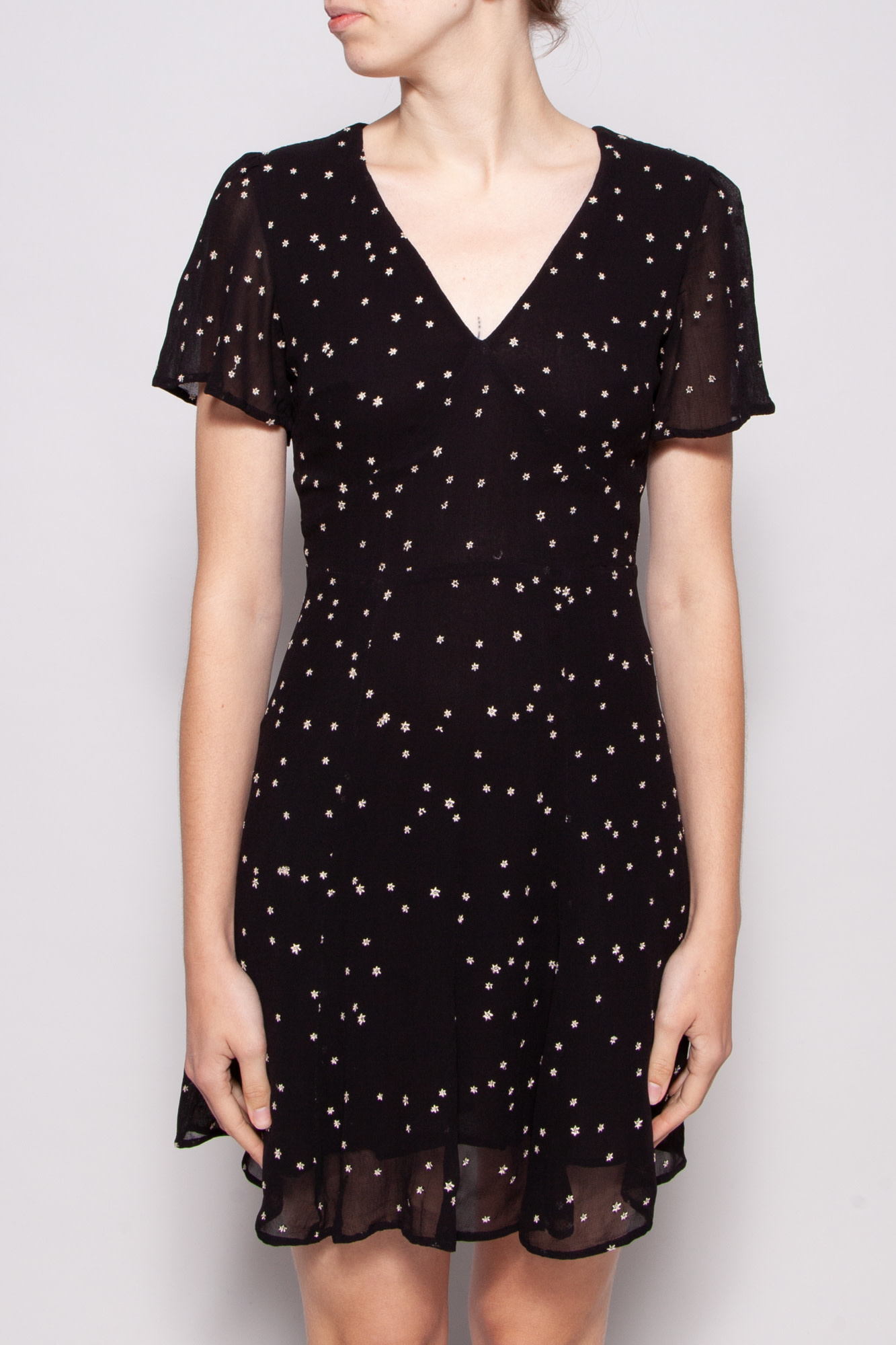 AllSaints BLACK DRESS WITH STAR EMBROIDERY