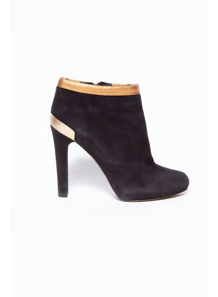 Fendi BLACK SUEDE WITH GOLD LEATHER DETAIL BOOTIES
