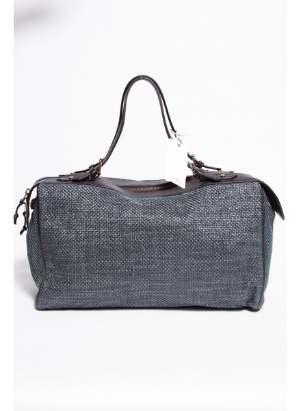 Scotch & Soda LARGE BLUE GREY BAG WITH COTTON, LINEN AND LEATHER INCHES - NEW