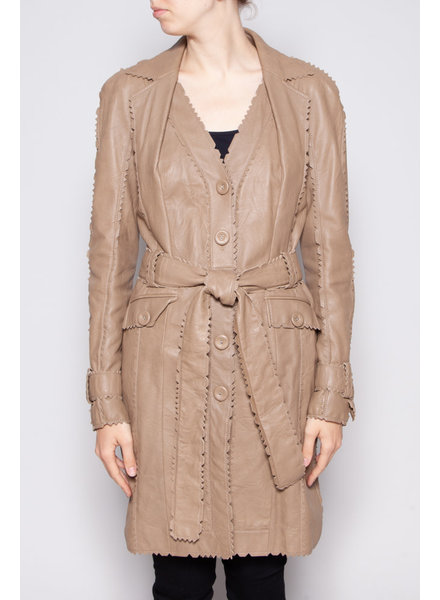 Christian Dior BEIGE LAMB LEATHER COAT