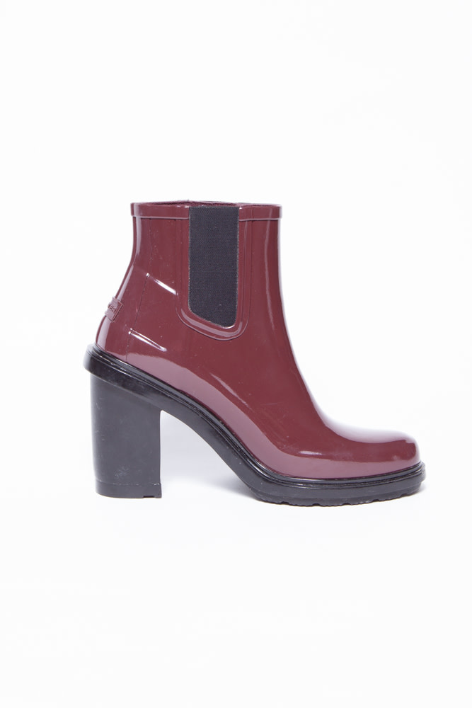 Hunter BURGUNDY RUBBER BOOTS WITH HEELS