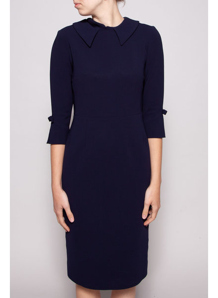 Éditions de Robes NAVY DRESS WITH SHIRT COLLAR AND SLEEVE BUCKLES