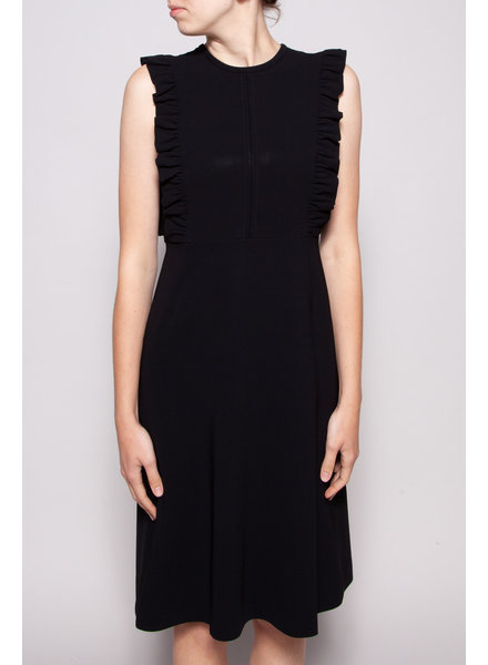 Éditions de Robes BLACK SLEEVELESS DRESS WITH RUFFLES