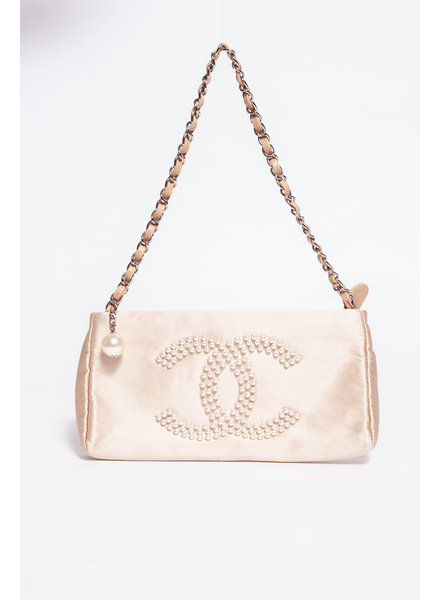 Chanel BEIGE SATIN CC BAGUETTE BAG WITH PEARLS