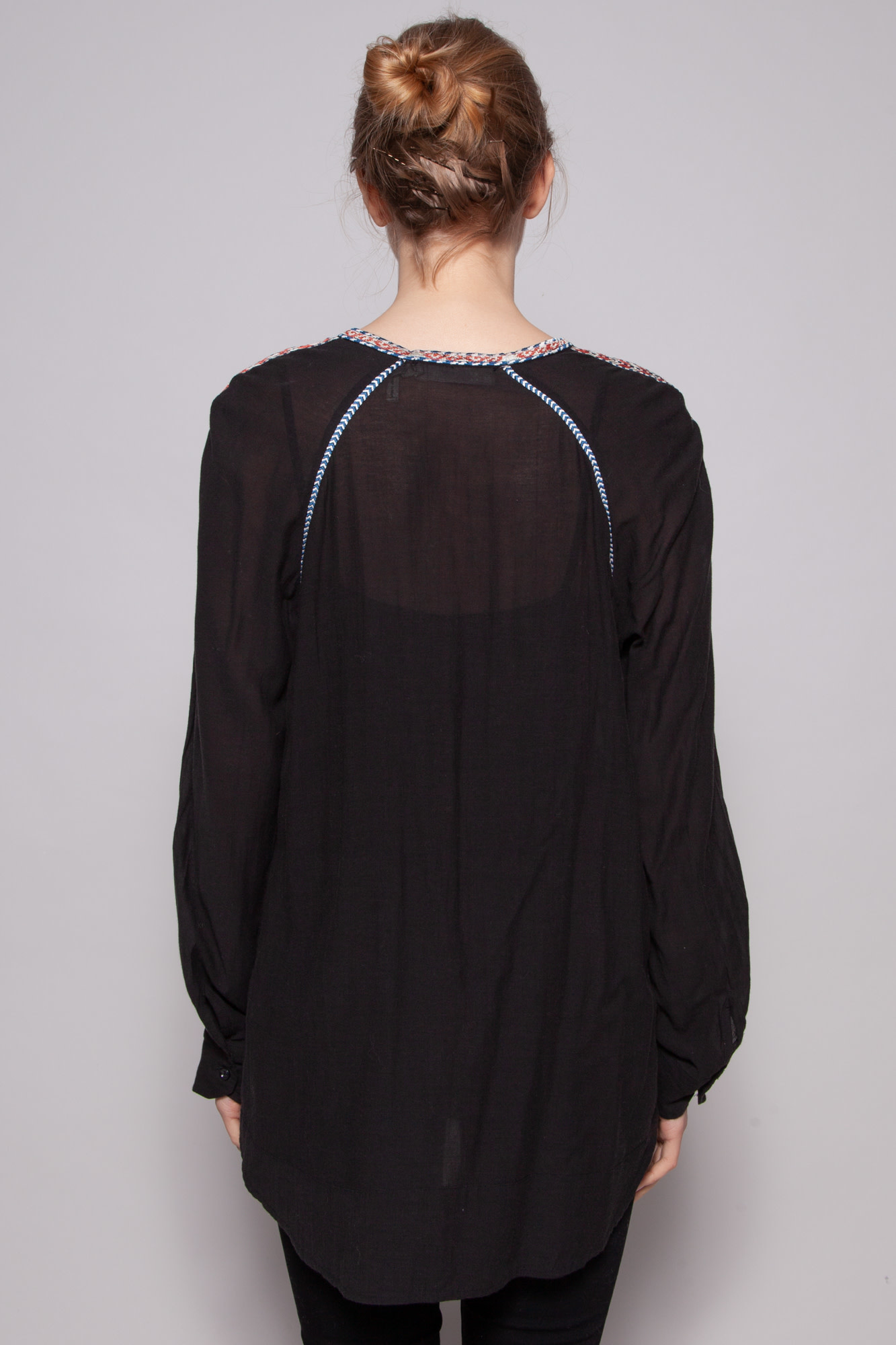 Isabel Marant Étoile BLACK EMBROIDERED BLOUSE