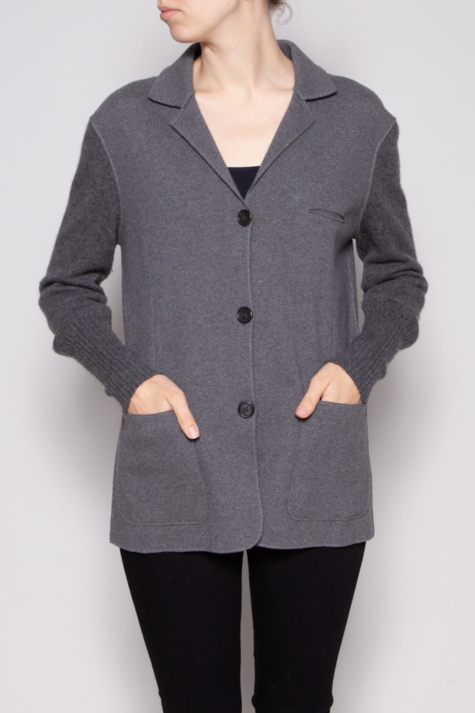 Brunello Cucinelli GREY CASHMERE CARDIGAN JACKET