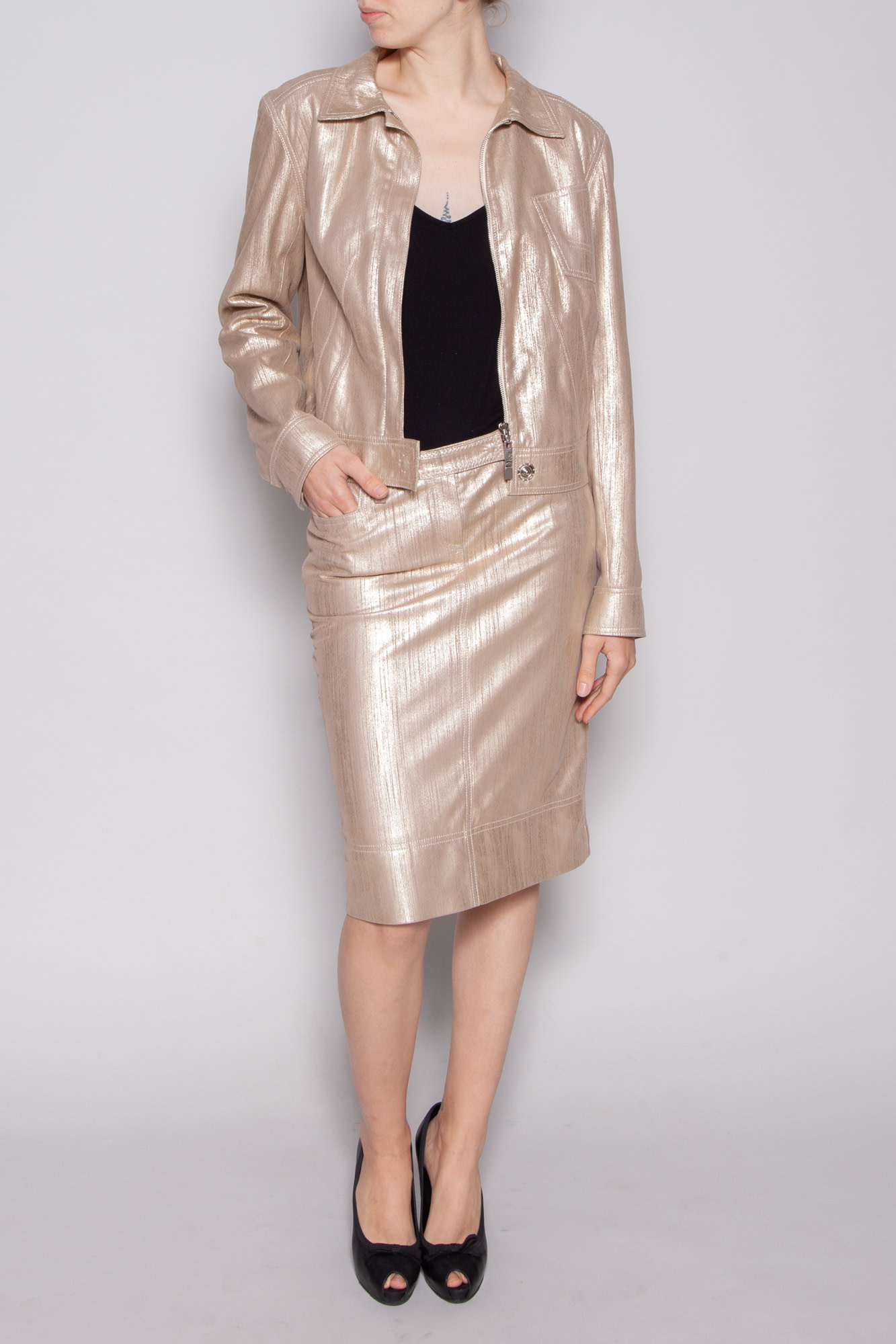 Christian Dior GOLD LEATHER SKIRT