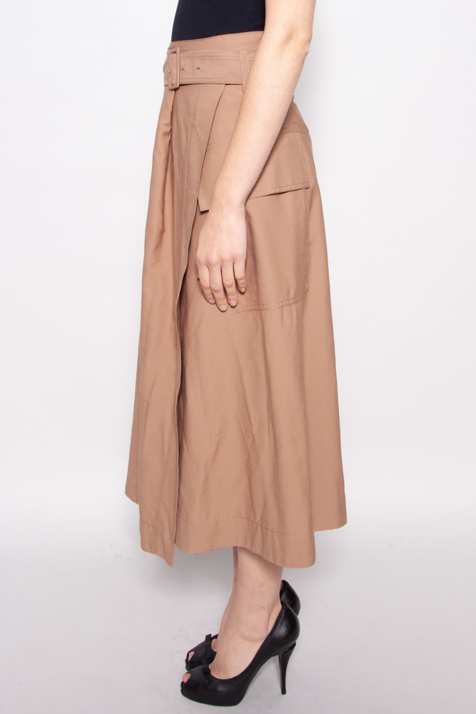 Vince BEIGE MIDI SKIRT WITH BELT