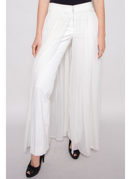 Chanel OFF-WHITE SILK TROUSERS WITH RUFFLES