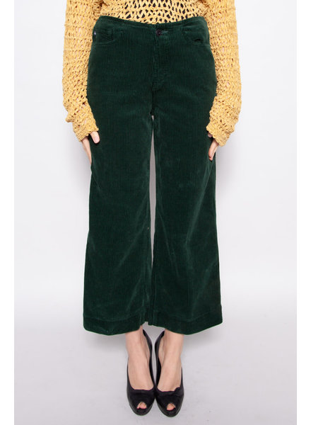 AG Jeans DARK GREEN CORDUROY WIDE LEG TROUSERS - NEW