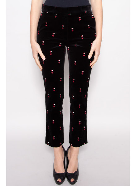 Frame HEART-EMBROIDERED BLACK VELVET PANTS