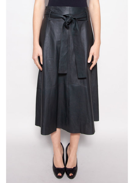 Vince GREEN LAMB LEATHER BELTED SKIRT