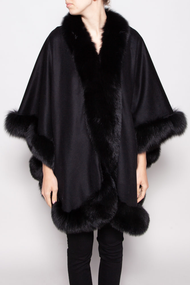 Wolfie BLACK CASHMERE & WOOL CAPE WITH FUR