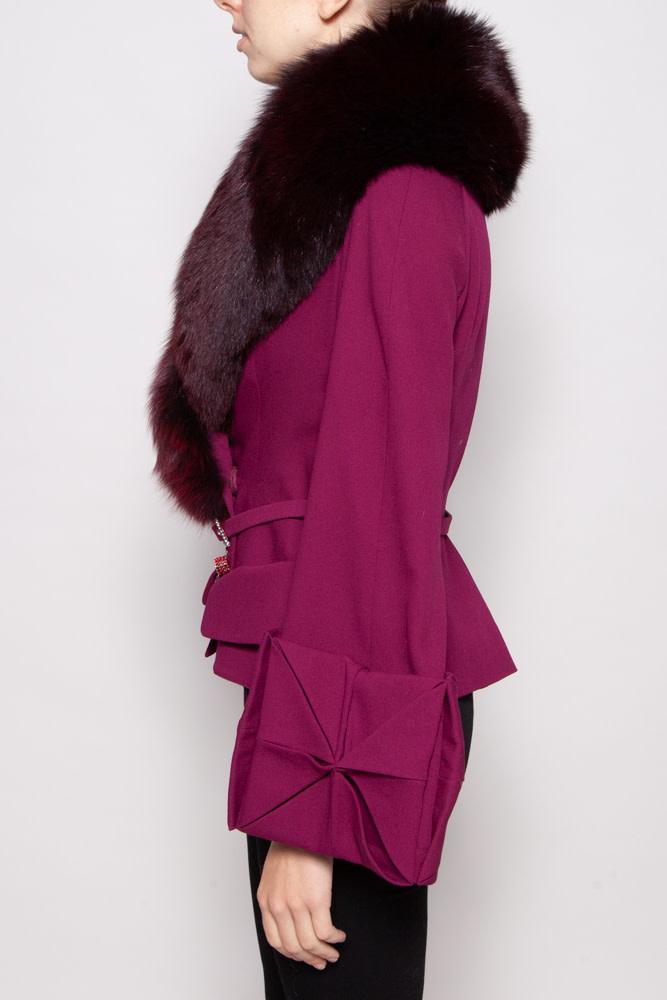 Christian Dior FUSCHIA WOOL & SILK COAT WITH FUR COLLAR