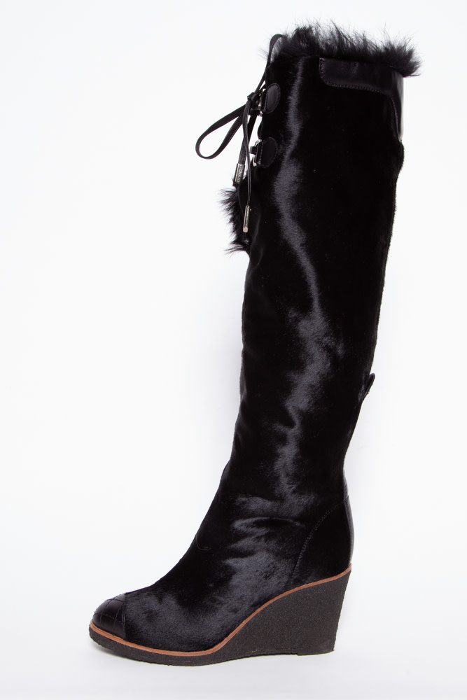 Chanel BLACK FUR WEDGE BOOTS