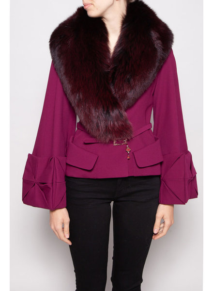 Christian Dior FUSCHIA WOOL & SILK COAT WITH FUR COLLAR