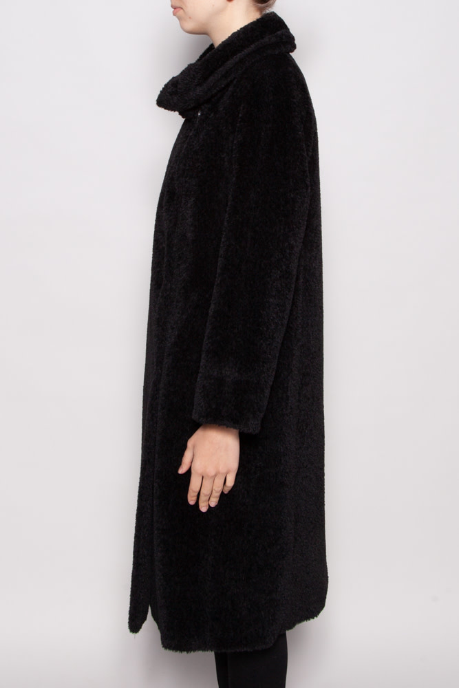 MaxMara Studio BLACK WOOL AND ALPACA COAT