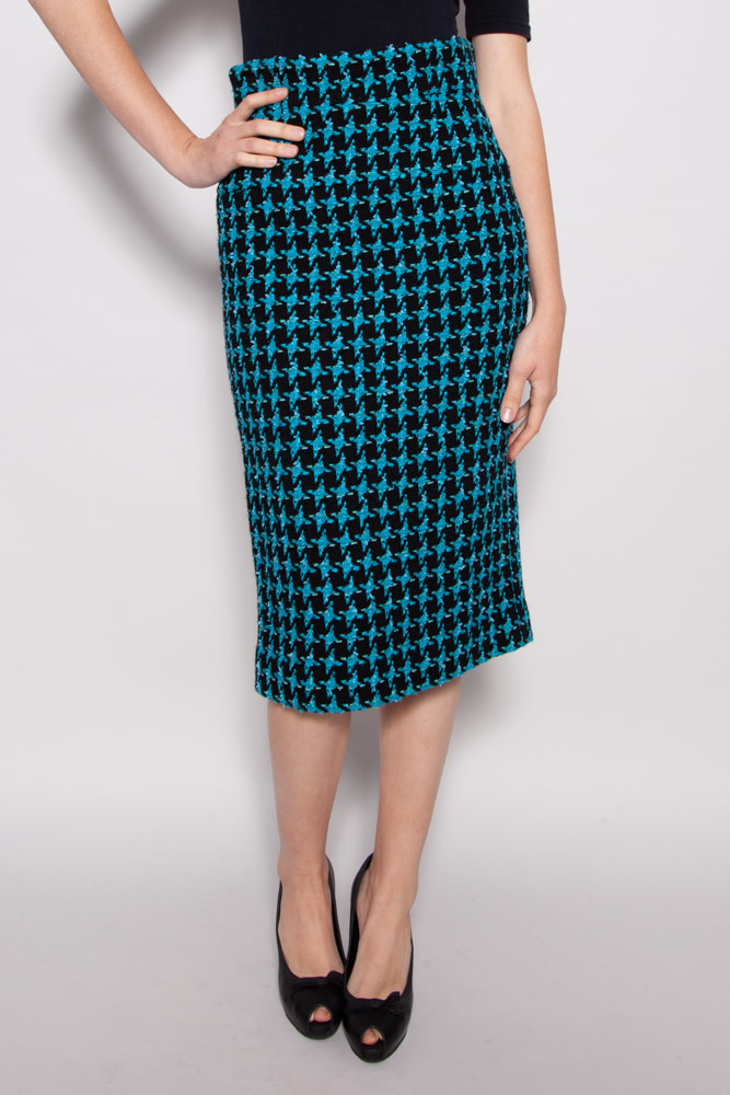 Chanel  BLUE TWEED HIGH WAISTED SKIRT
