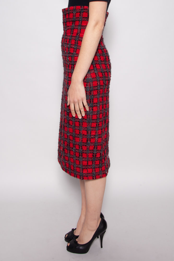 Chanel RED  HIGH WAISTED TWEED SKIRT