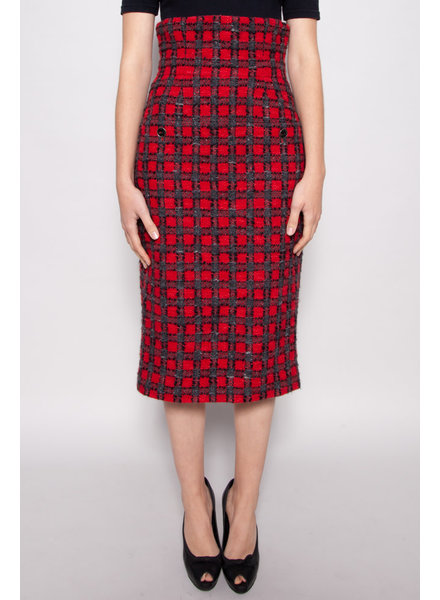 Chanel NEW PRICE (WAS $475) - RED HIGH WAISTED TWEED  SKIRT