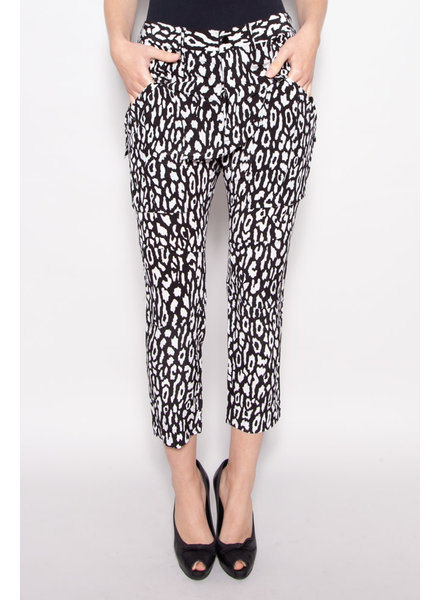 The Kooples BLACK AND WHITE CHEETAH PRINT PANTS