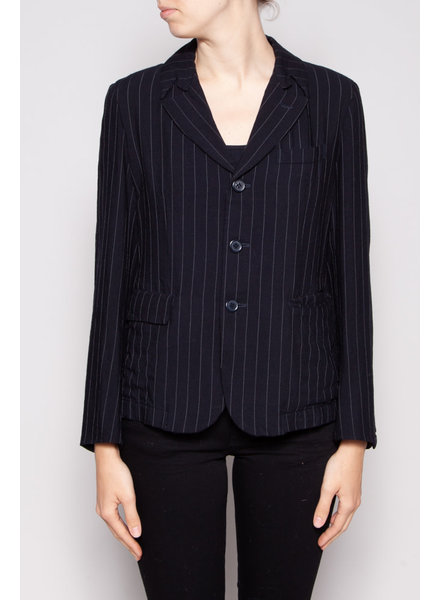 Comme des Garçons NAVY BLAZER WITH FINE GREY LINE - NEW WITH TAGS