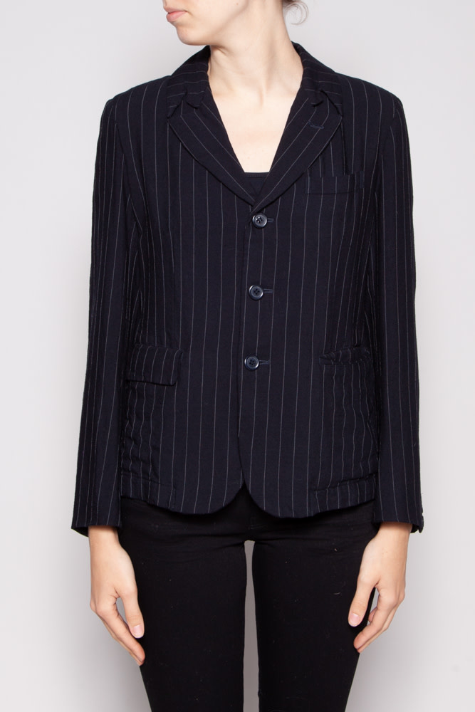 Comme des Garçons NEW PRICE (WAS $240) -  NAVY BLAZER WITH FINE GREY LINE - NEW WITH TAGS