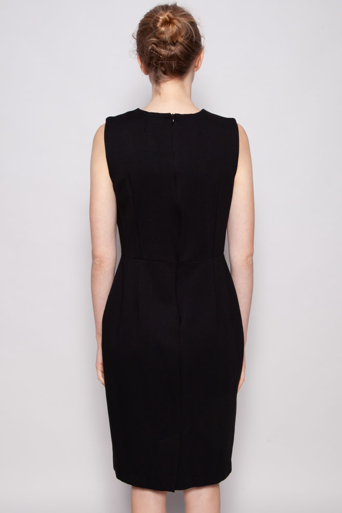 Burberry London  BLACK SLEEVELESS DRESS WITH POCKETS AND BUTTONS