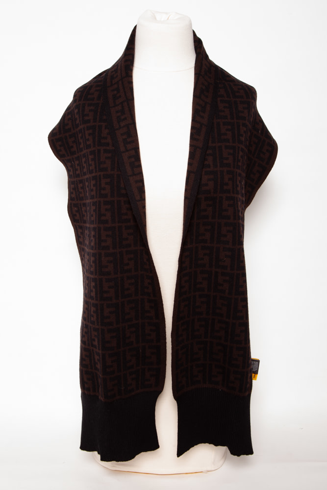 Fendi BLACK AND BROWN SCARF WITH MONOGRAMS