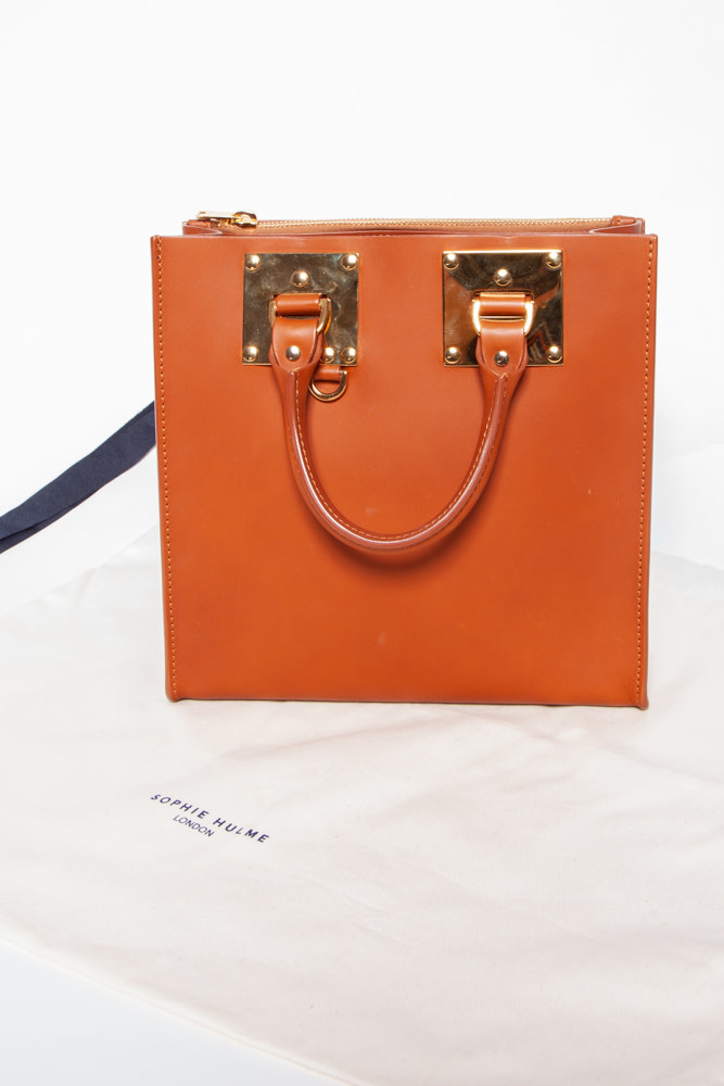 Sophie Hulme  BROWN LEATHER HANDBAG WITH GOLD DETAILS