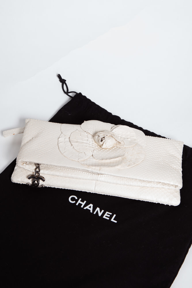 Chanel WHITE PYTHON LEATHER CLUTCH
