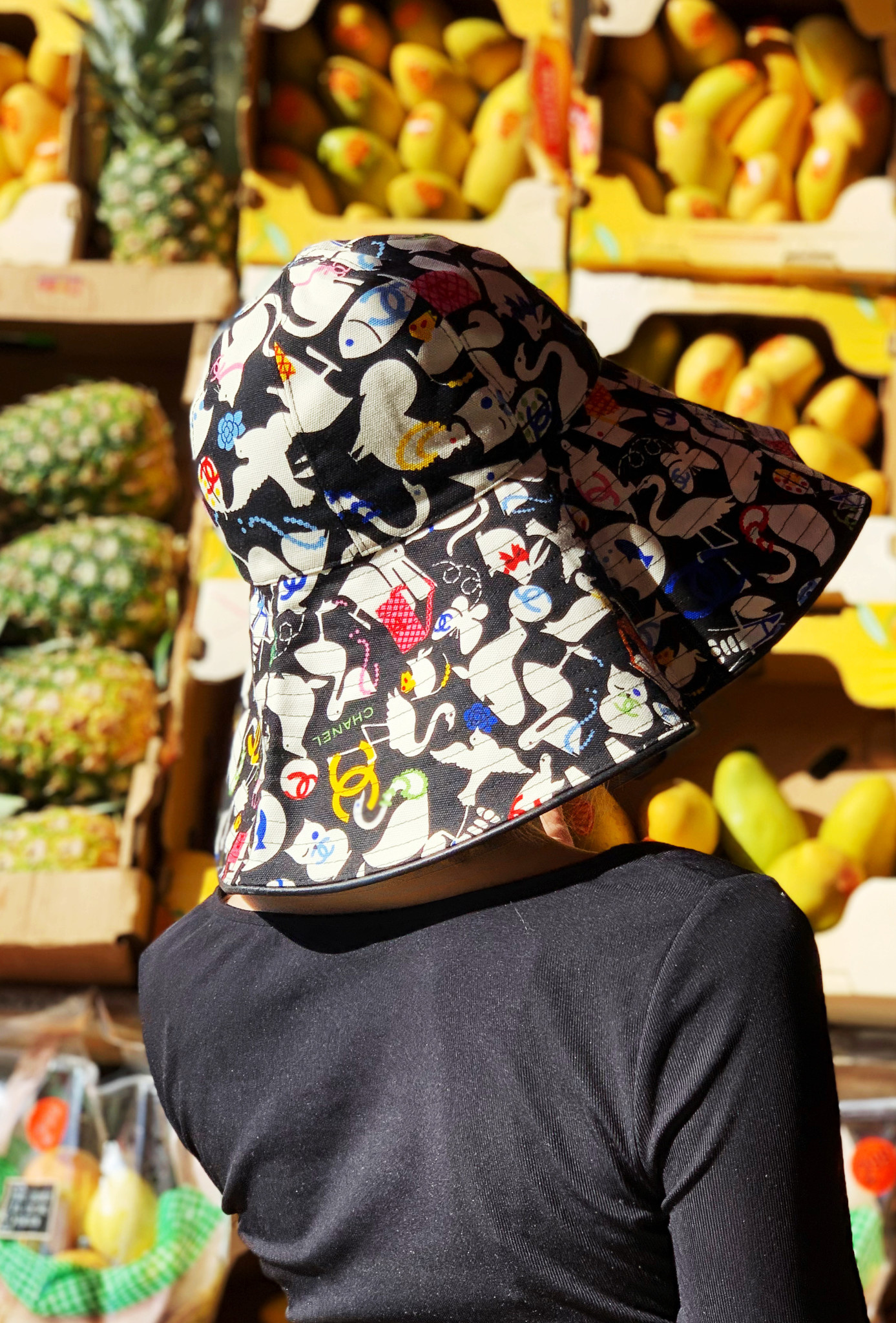 Chanel NEW PRICE (WAS $540) - BLACK & MULTICOLOR GRAPHIC PRINT CHANEL HAT