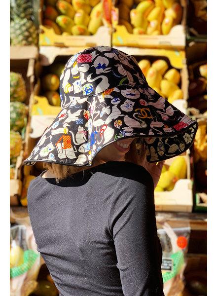 Chanel BLACK & MULTICOLOR GRAPHIC PRINT CHANEL HAT