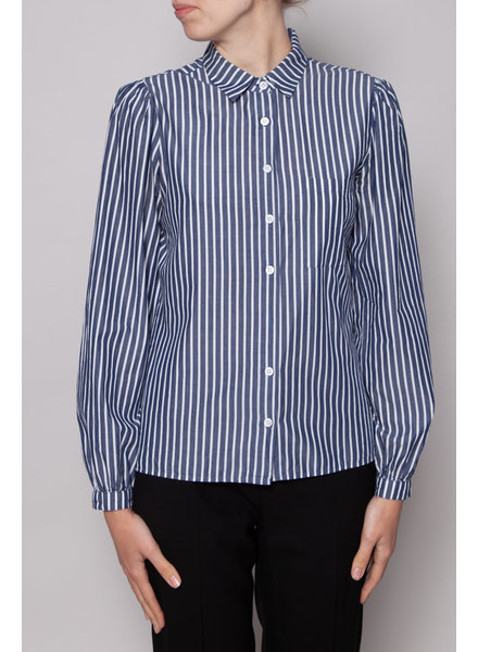 Reformation WHITE AND BLUE STRIPED SHIRT