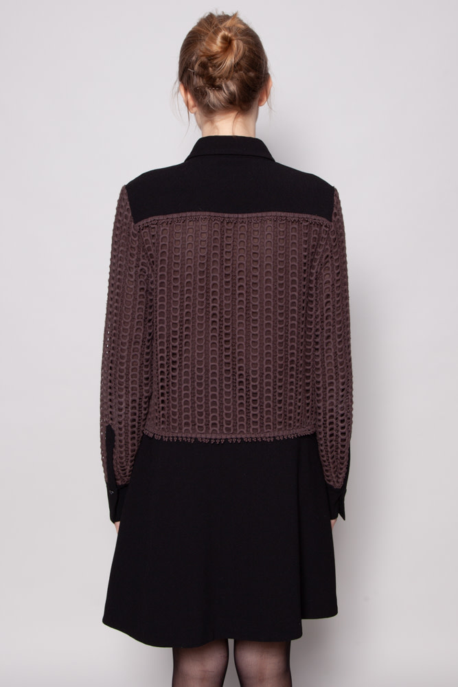 See by Chloe BLACK AND BROWN SHIRT DRESS