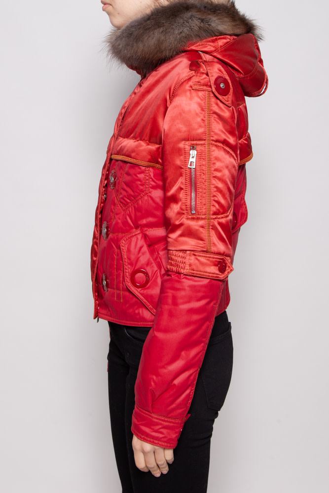 Christian Dior RED PUFFER JACKET WITH FUR HOOD
