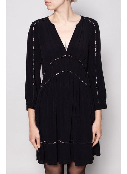 Ba&sh BLACK DRESS WITH FLORAL-PRINT DETAIL