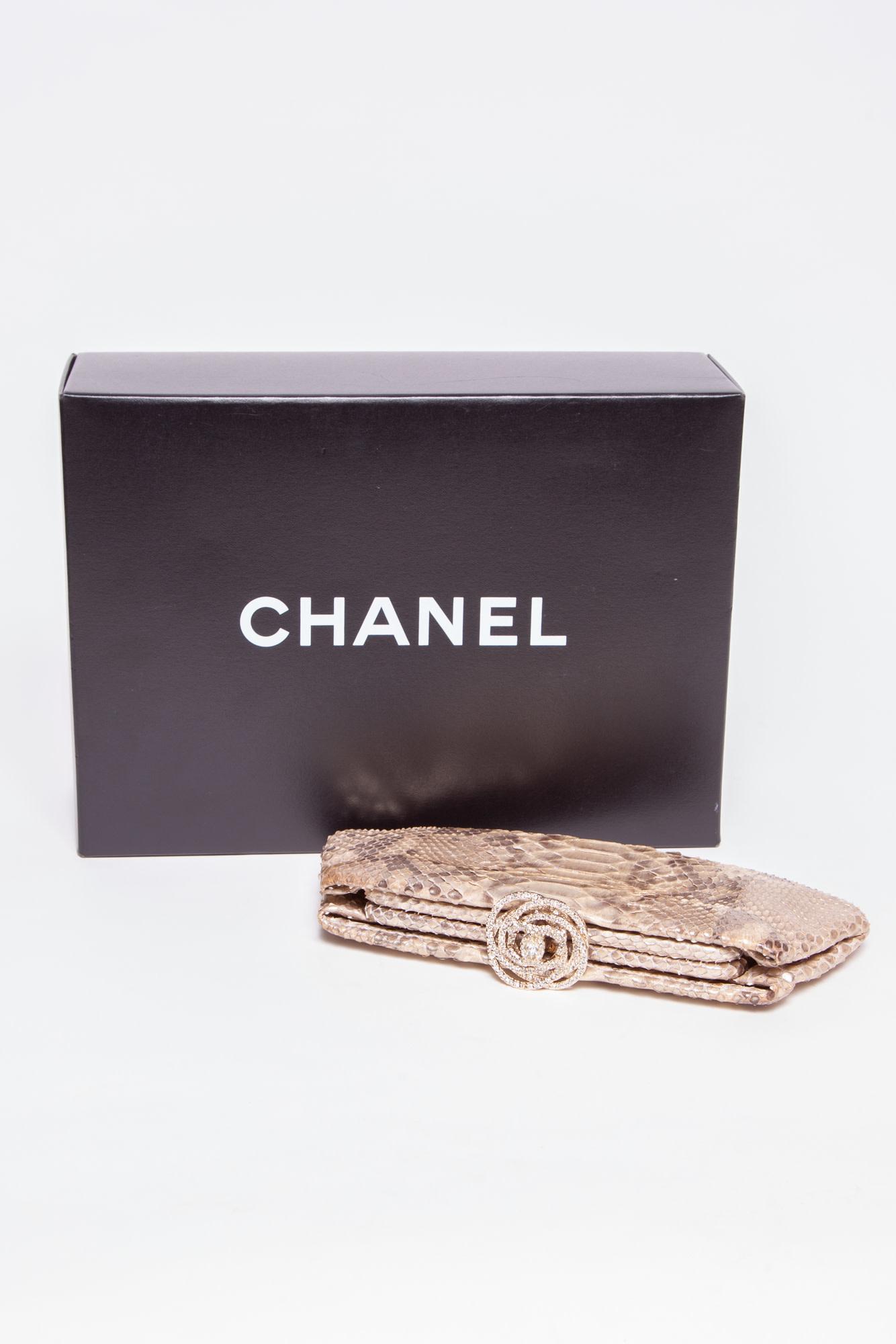 "Chanel PYTHON ""CAMELLIA"" CLUTCH BAG"