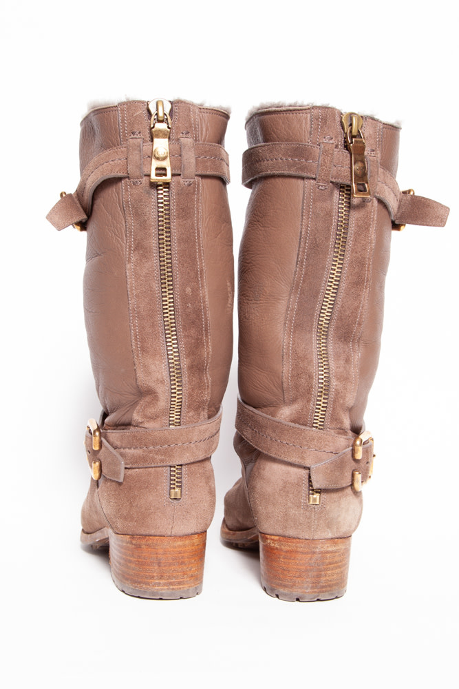 Dior SUEDE AND TAUPE LEATHER BOOTS WITH SHEEP LINING