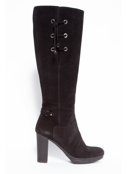 Aquatalia HIGH BLACK SUEDE BOOTS WITH LACES
