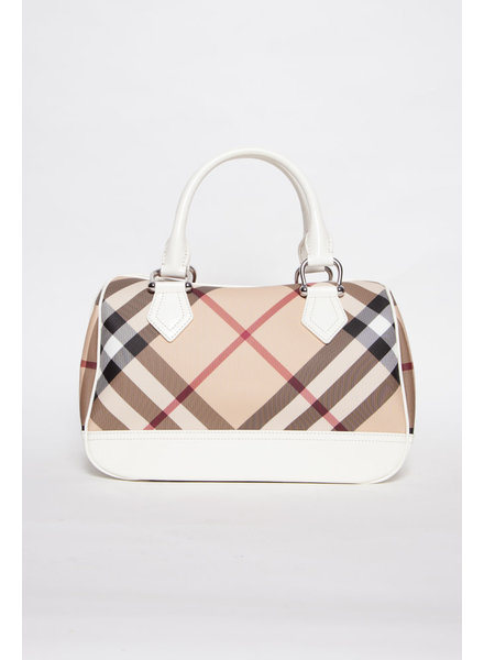 Burberry SAC MONOGRAMME BOWLING À GANSES BLANCHES