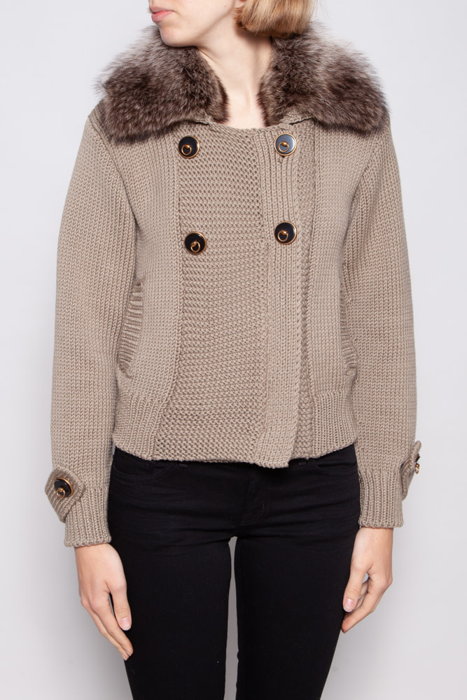 Gucci KNITTED WOOL BLAZER WITH FUR COLLAR