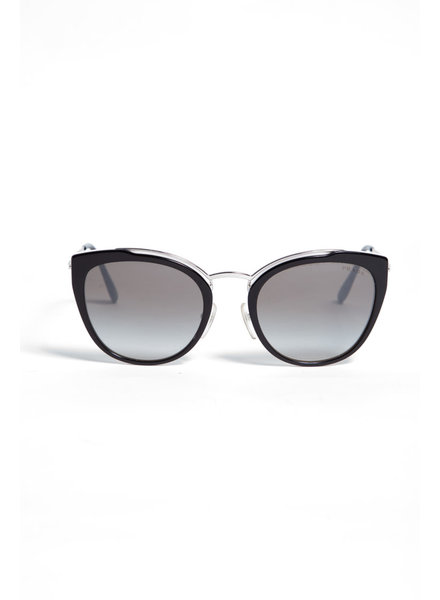 Prada BLACK AND SILVER SUNGLASSES WITH WHITE INTERIOR