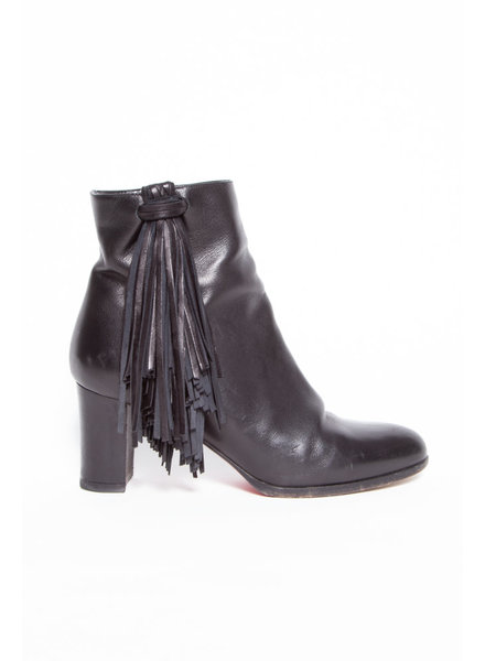 Christian Louboutin BLACK LEATHER FRINGE BOOTS